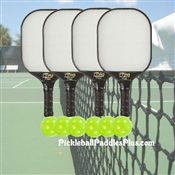 Rally Tyro Composite PIckleball Paddle Set - includes 4 paddles and 6 indoor balls