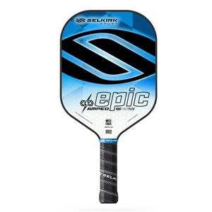 Selkirk fiberflex face, AMPED Epic, available in two blue, green, orange, purple or red, and in standard weight or lightweight.