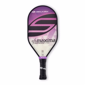 Selkirk fiberflex face, AMPED Maxima, available in blue, green, purple or red, and in standard weight or lightweight.