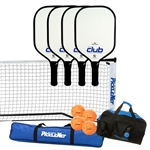 Blue and White Selkirk Club Composite Pickleball Set - portable net, four paddles, four Jugs balls, and duffel bag.