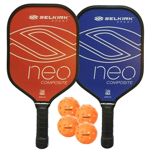 Selkirk Neo Composite Bundle-2 Paddles (Blue and Red) and four Jugs balls.