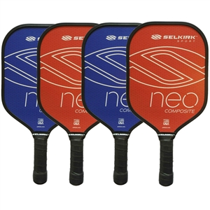 Red and Blue NEO Composite Pickleball Paddle 4-Pack, four middleweight composite paddles by Selkirk Sport.