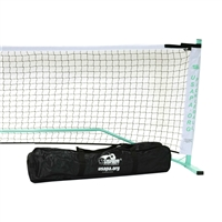 White, Green, and Black USAPA Portable Pickleball Net includes powder-coated steel frame, net, and carrying bag.