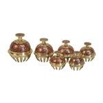 Elephant Bells, Set of 6, Carmine Red