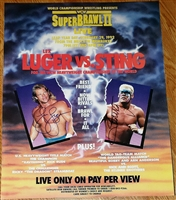 WCW SUPERBRAWL 2 poster signed by LEX LUGER & STING