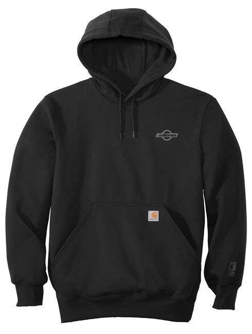Heavy Blend Hooded Sweatshirt - Dark Heather - 100 Years logo