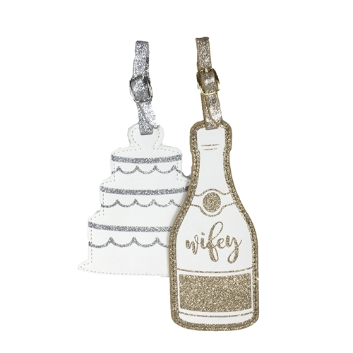 Sparkle Wifey & Wedding Cake Set of 2 Luggage Tags