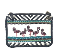 Mary Frances 'A Leg Up' Flamingo Beaded Clutch