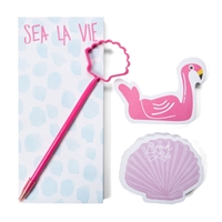 Flamingo & Seashell Notepad & Pen Stationary Gift Set