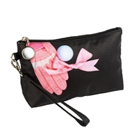 Pink Glove & Golf Ball Wristlet Travel Cosmetic Case