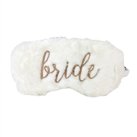 Bride Gold Script Faux Fur Sleep Mask