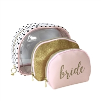 Bride 3 Piece Travel Cosmetic Bag Set