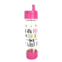 Pink or Sparkly Quote BPA Free Travel Water Bottle w Storage Holder