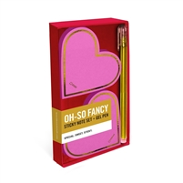 Oh So Fancy Hearts Sticky Note Pads & Gel Pen Desk Set