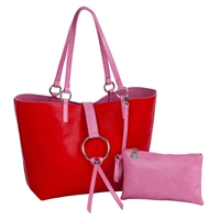 Sydney Love Vegan Leather Reversible Ring Tote & Wristlet Set