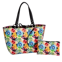 Sydney Love Floral Plaid Vegan Leather Reversible Tote & Wristlet Set