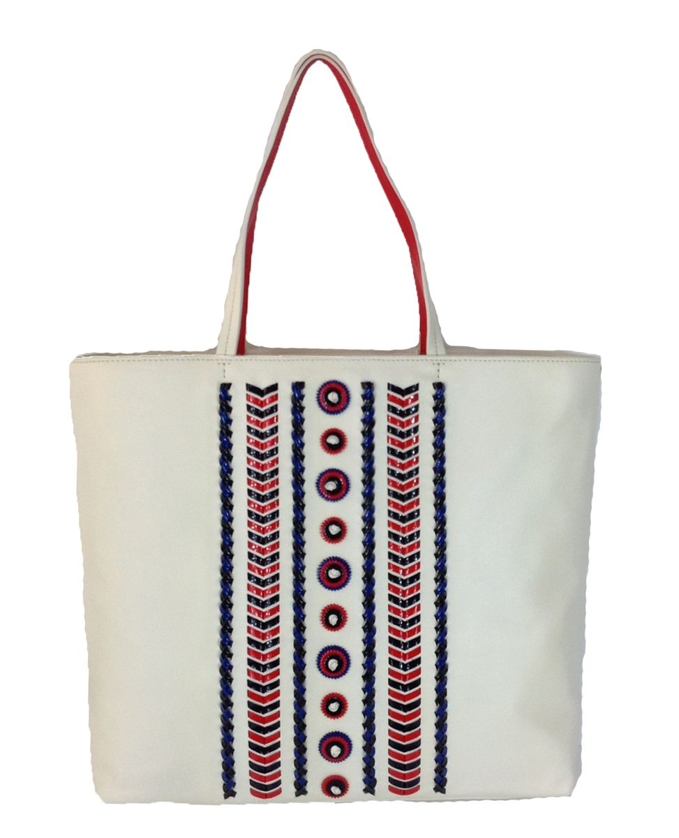 0283a0bd54e Tory Burch Embellished Stitch Leather Tote, New Ivory/ Masaai Red ...