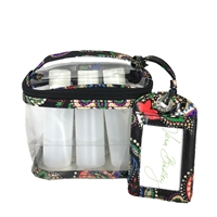 Vera Bradley Lighten Up Travel Duo Travel Cosmetic Case & Bottle & Luggage Tag