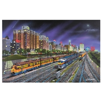 SunsOut Chicago Nights Train 1000 Pc Jigsaw Puzzle