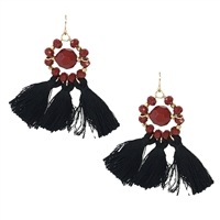 Mary Square Beaded Tassel Drop Earrings