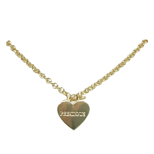 Precious Engraved Heart Charm Pendant Necklace