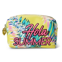 Hola Summer Tropical Print Large Zip Cosmetic Case