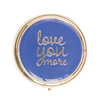 Love You More Round Enamel Travel Pill Case