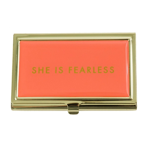 She Is Fearless Enamel Business Card Holder