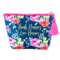 Think Happy Live Happy Carry All Cosmetic Clutch