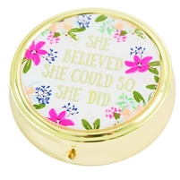 She Believed She Could So She Did Round Travel Pill Case