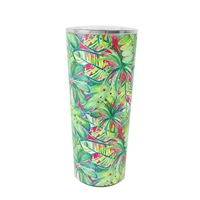 Watercolor Palm Double Wall Stainless Steel Tumbler w Lid