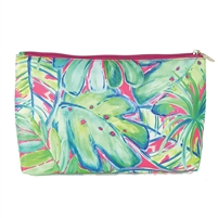 Watercolor Palm Print Carryall Travel Pouch