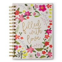 Filled With Love Floral Hardcover Spiral Notebook