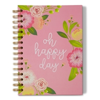 Oh Happy Day Floral Hardcover Spiral Notebook