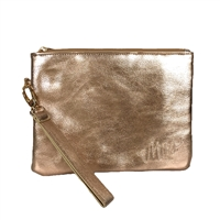 Mrs Metallic Vegan Leather Wristlet Clutch