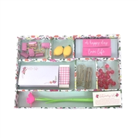 Oh Happy Day Floral Desk Caddy 40 Piece Stationery Set