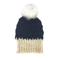 Dena Chunky Knit Hat Fox Fur Pom Pom