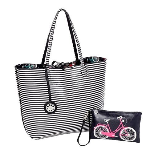 Sydney Love Bicycle Reversible Tote & Wristlet Set
