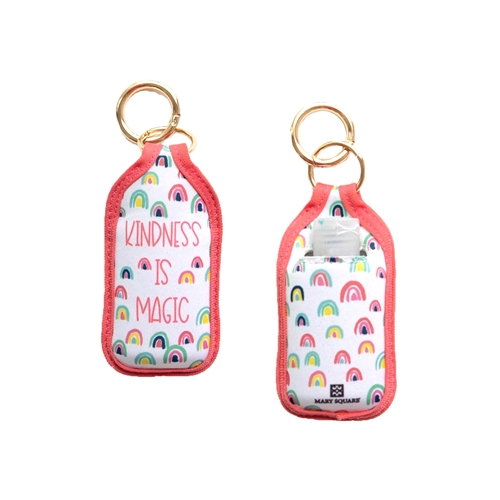 Mary Square Kindness is Magic Neoprene Pocket 1 oz Travel Bottle Holder w Keyring