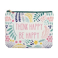 Mary Square Think Happy Be Happy Case Zip Pouch Clutch