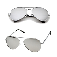 Fashion Culture Alpha Mirrored Lens Aviator Sunglasses