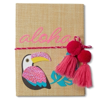 Aloha Tropical Toucan Woven Straw Bound Hardcover Journal