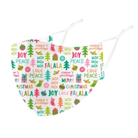 Kids Seasons Greetings Christmas Holiday Print Reusable 3D Face Covering