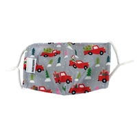Kids Red Truck Christmas Holiday Face Mask