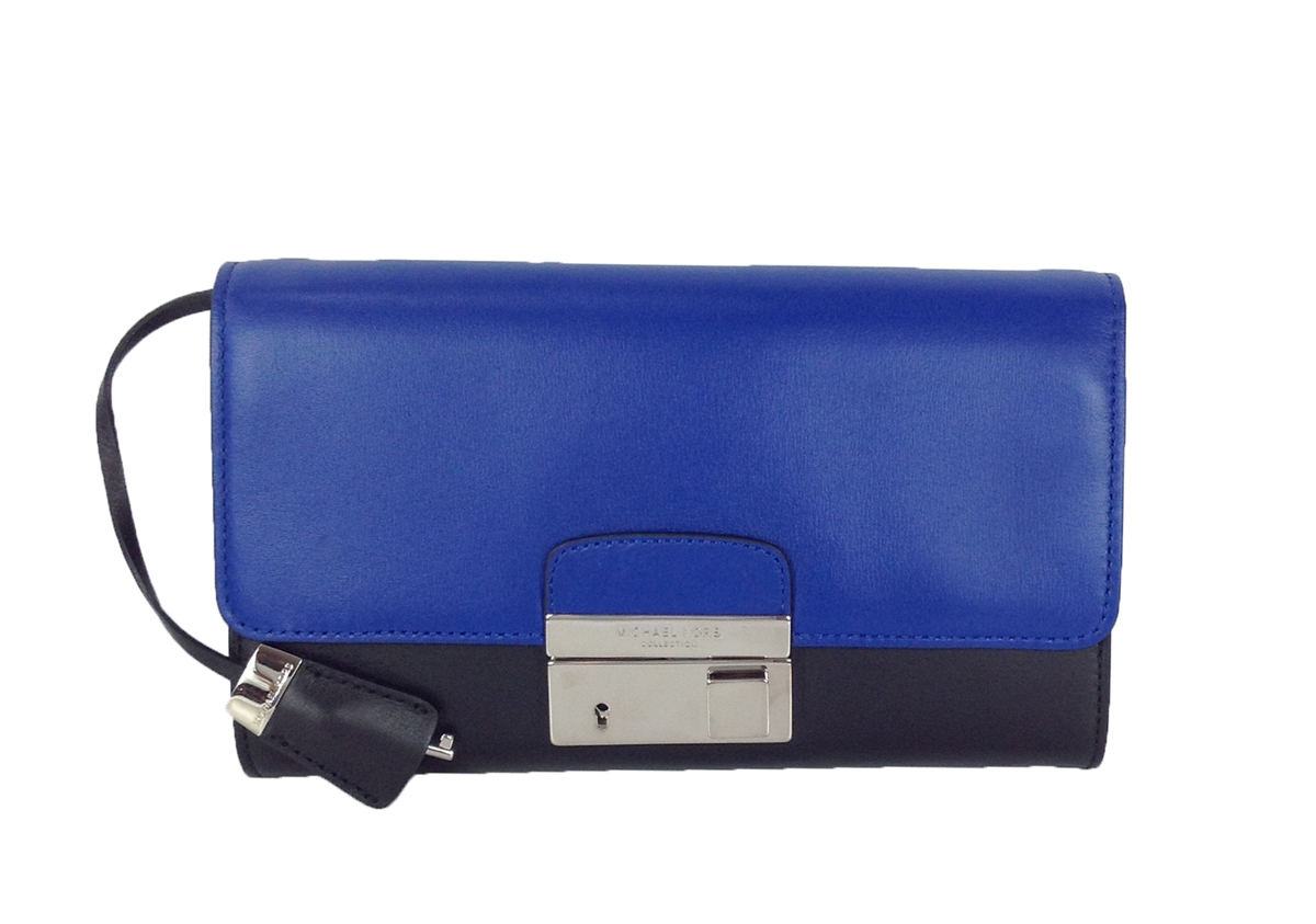 michael kors collection gia leather clutch with lock cobalt rh thebagtique com