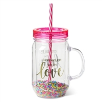 Sprinkled With Love BPA Free Sprinkles Mason Jar Travel Cup