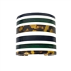 Tory Burch Striped Resin Statement Wide Cuff Bracelet