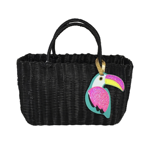 Tropical Toucan Woven Beach Bag Large Market Tote
