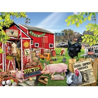 Barnyard Baseball Farm Animals 300 Large Piece Jigsaw Puzzle