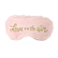 Love Is In The Air Gold Script Fuzzy Faux Fur Sleep Mask